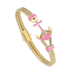 Women's Pink Lacquer Anchor Bangle