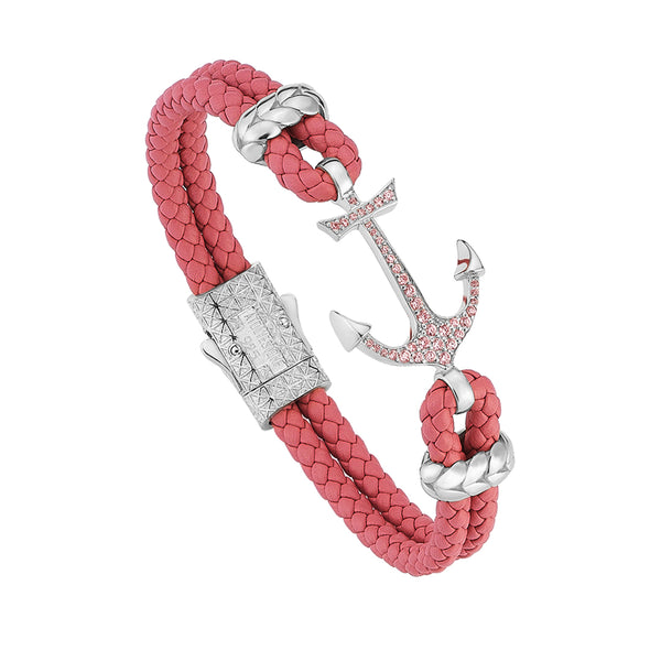 Women's Anchor Leather Bracelet - Silver