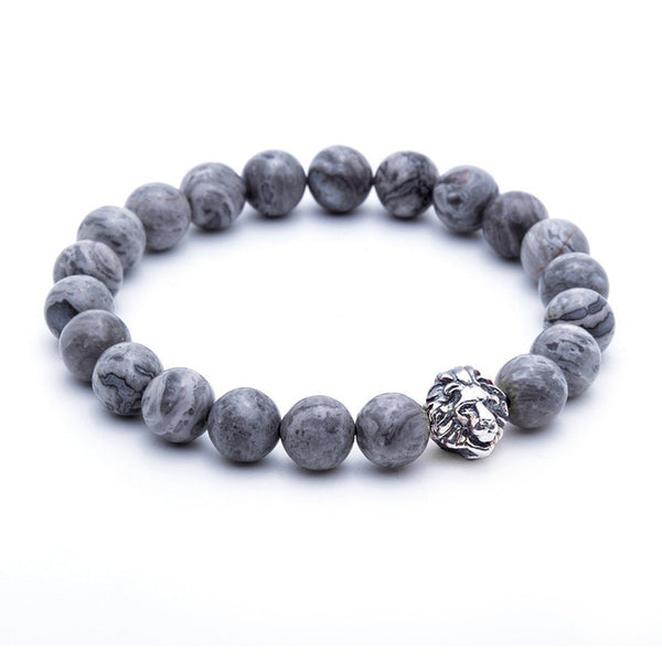 Mens Leo Jasper Beaded Bracelets - Oxidised Silver - Grey Jasper