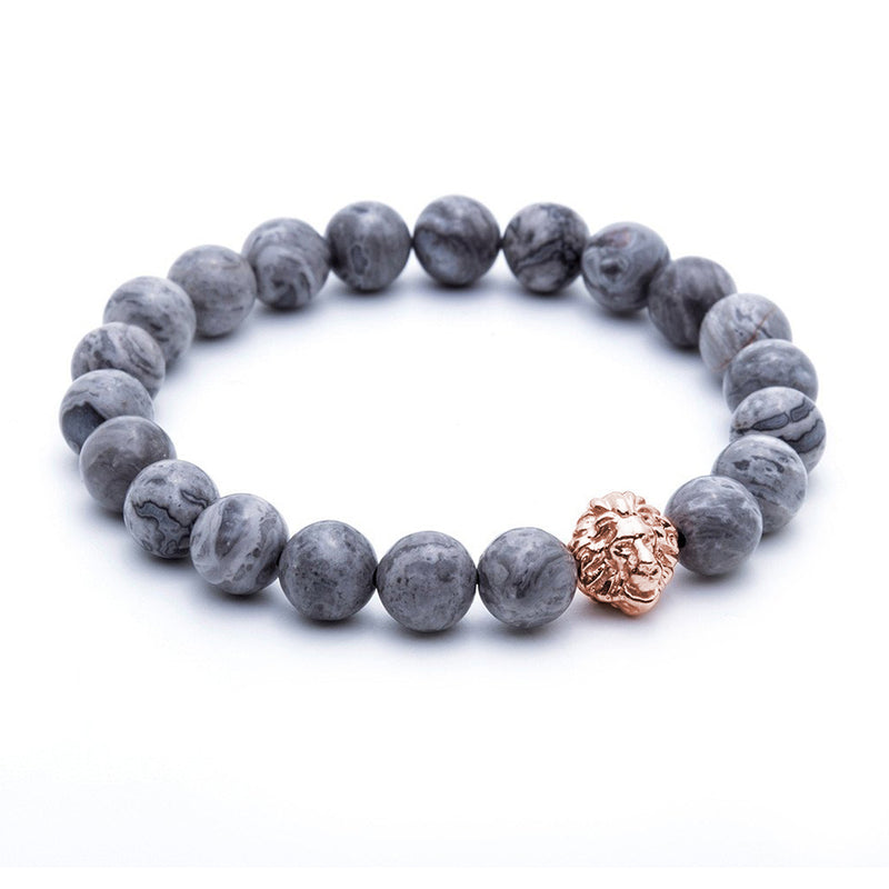 Leo Jasper Beaded Bracelet for men