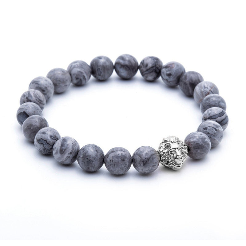 Leo Jasper Beaded Bracelet - White Gold