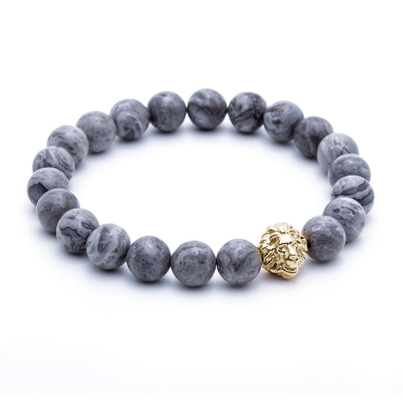 Leo Jasper Beaded Bracelet - Men - Grey Jasper