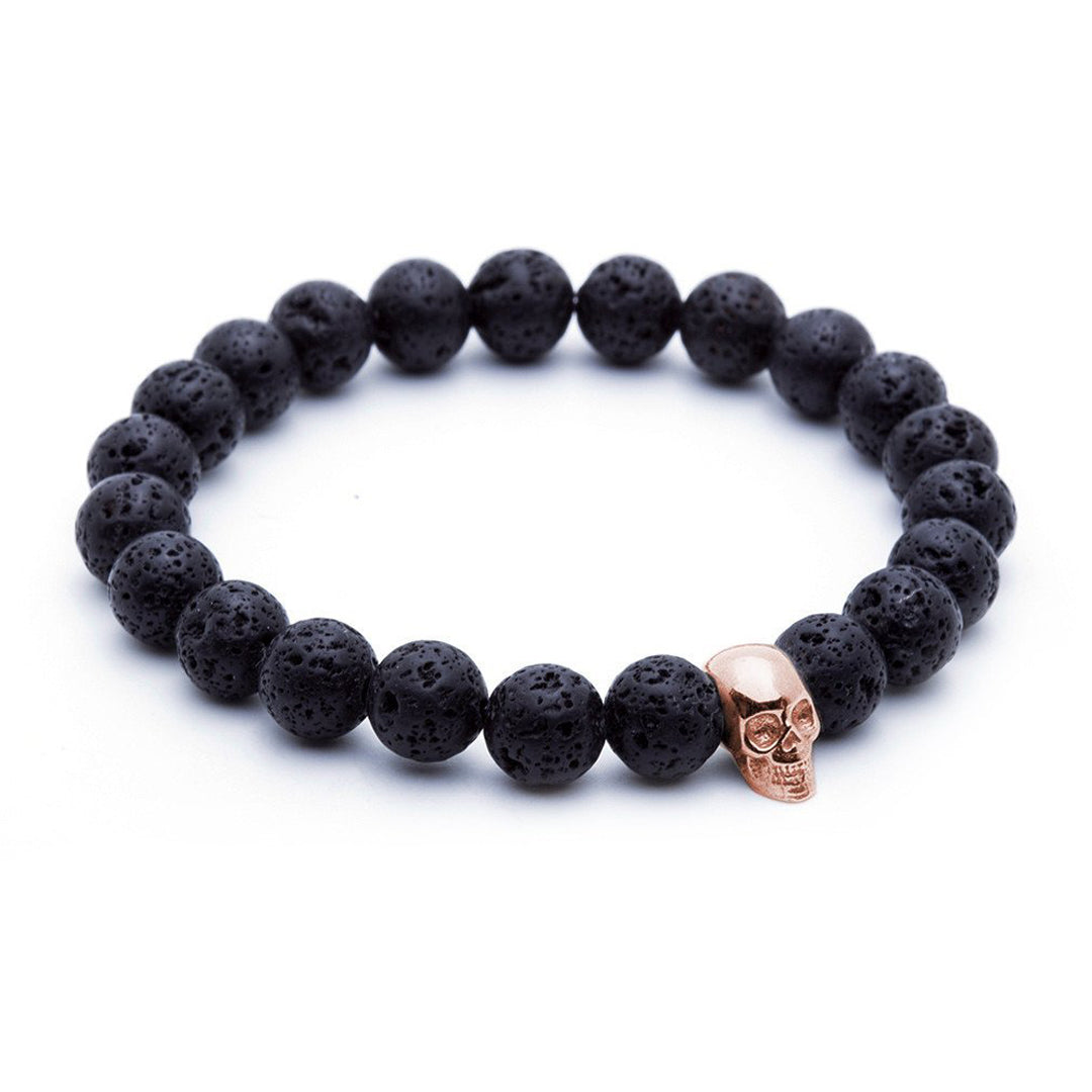 Skull Beaded Bracelet - Rose Gold - Lavastone
