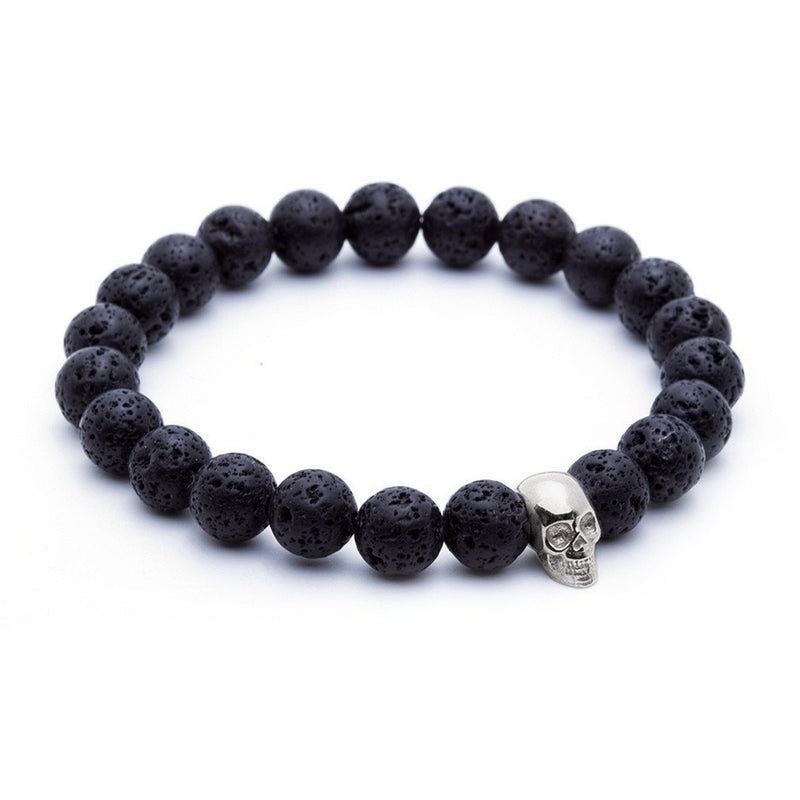 Skull Beaded Bracelet - White Gold - Lavastone