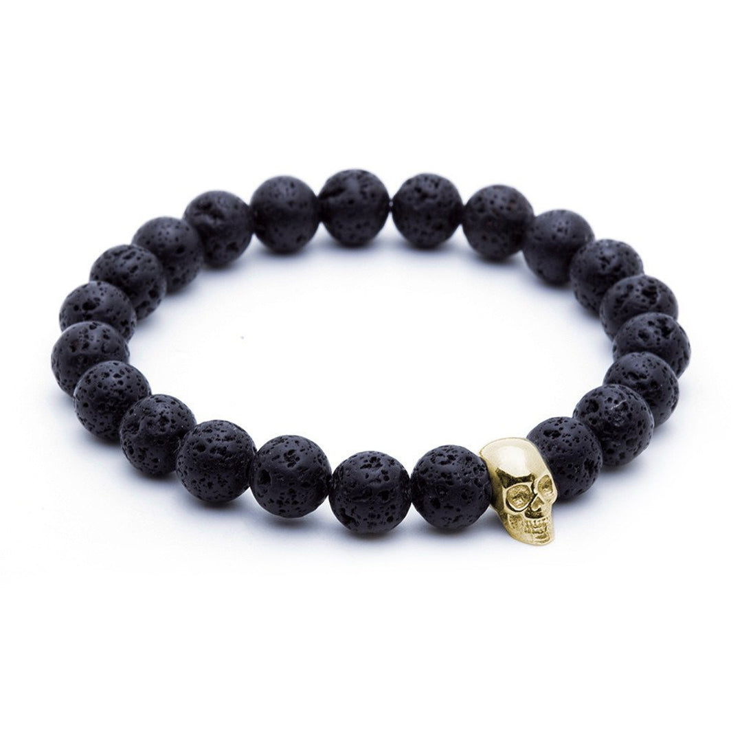 Skull Beaded Bracelet - Yellow Gold - Lavastone