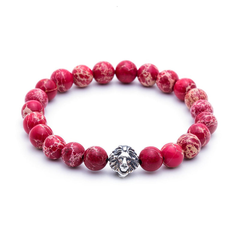 Leo Jasper Beaded Bracelet - White Gold - Men
