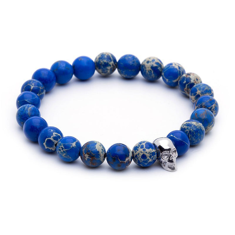 Skull Beaded Bracelet - White Gold - Blue Jasper