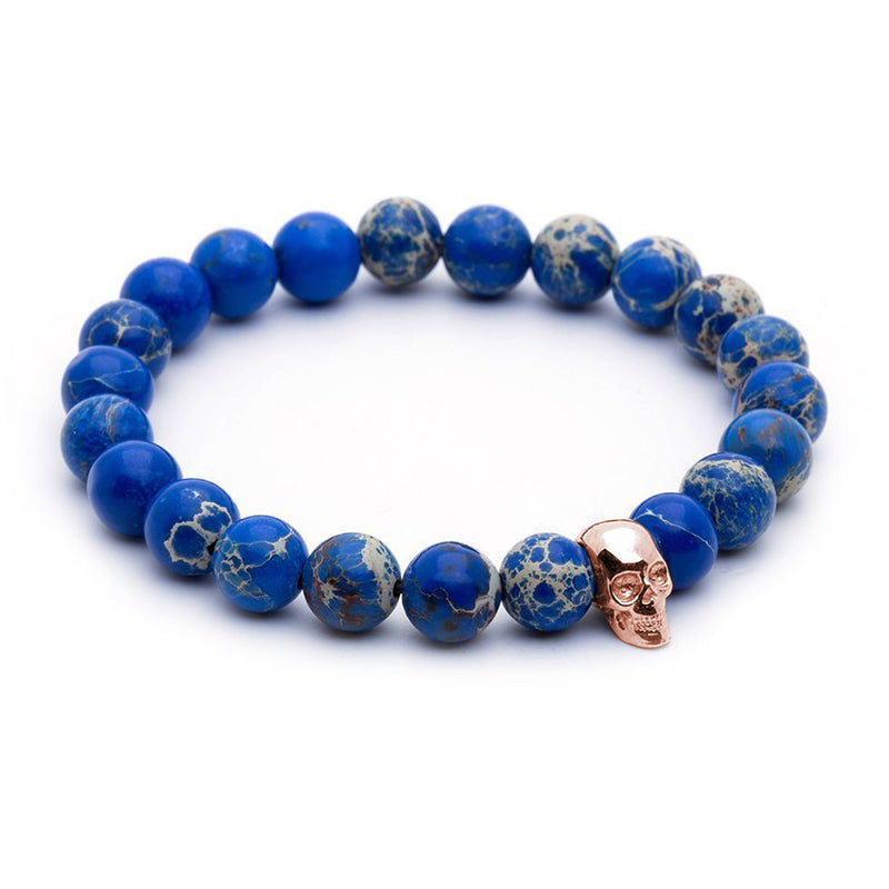 Skull Beaded Bracelet - Rose Gold - Blue Jasper