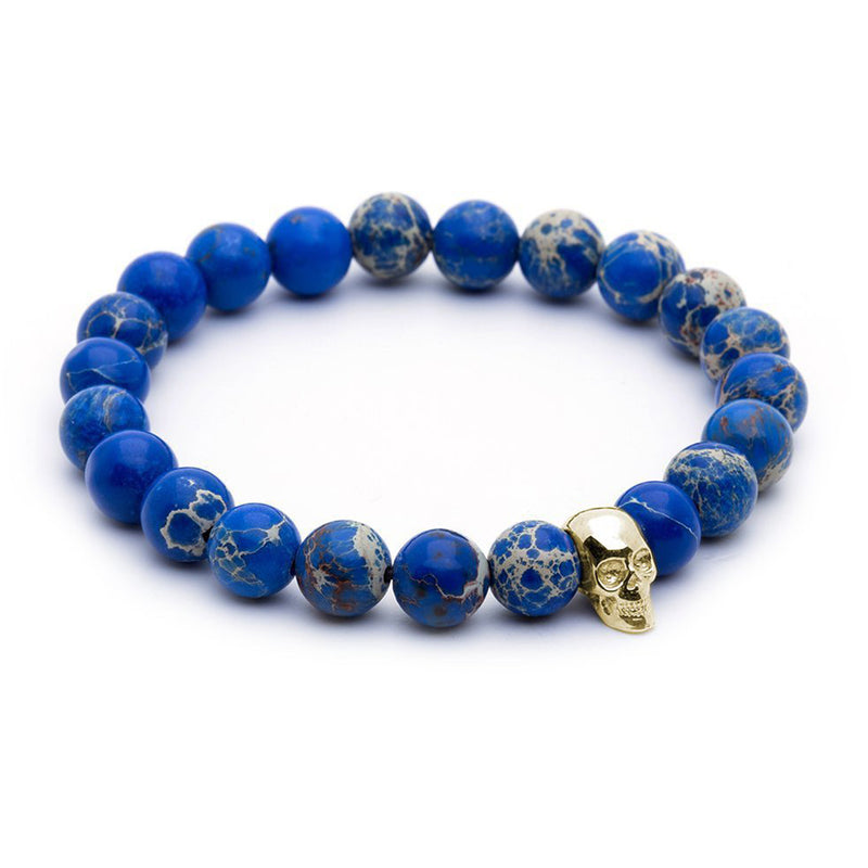 Skull Beaded Bracelet - Yellow Gold - Blue Jasper