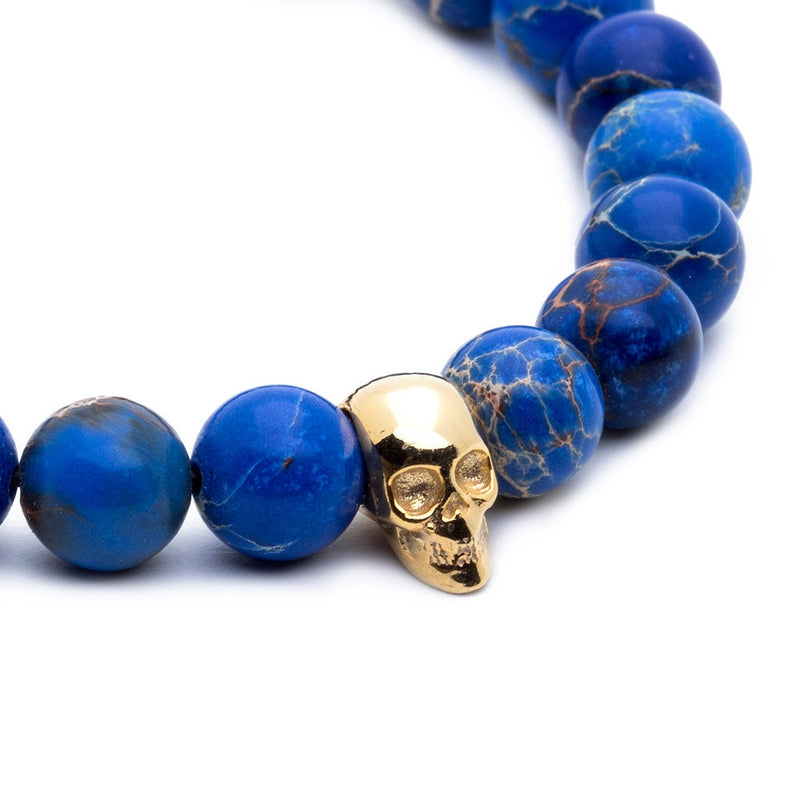Skull Beaded Bracelet - Yellow Gold