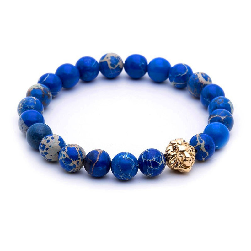 Leo Jasper Beaded Bracelet - Yellow Gold - Blue Jasper