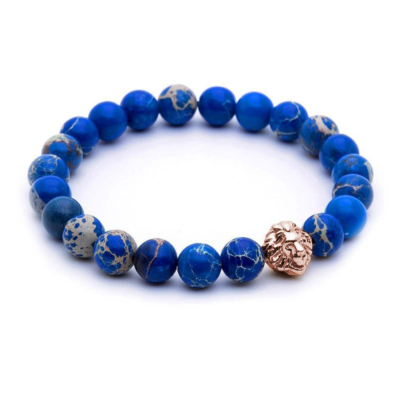 Leo Jasper Beaded Bracelet - Rose Gold - Men