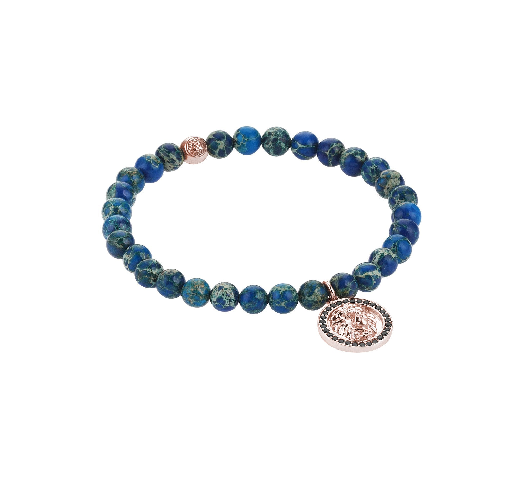 Mens Leo Charm Bracelet - Rose Gold - Blue Jasper