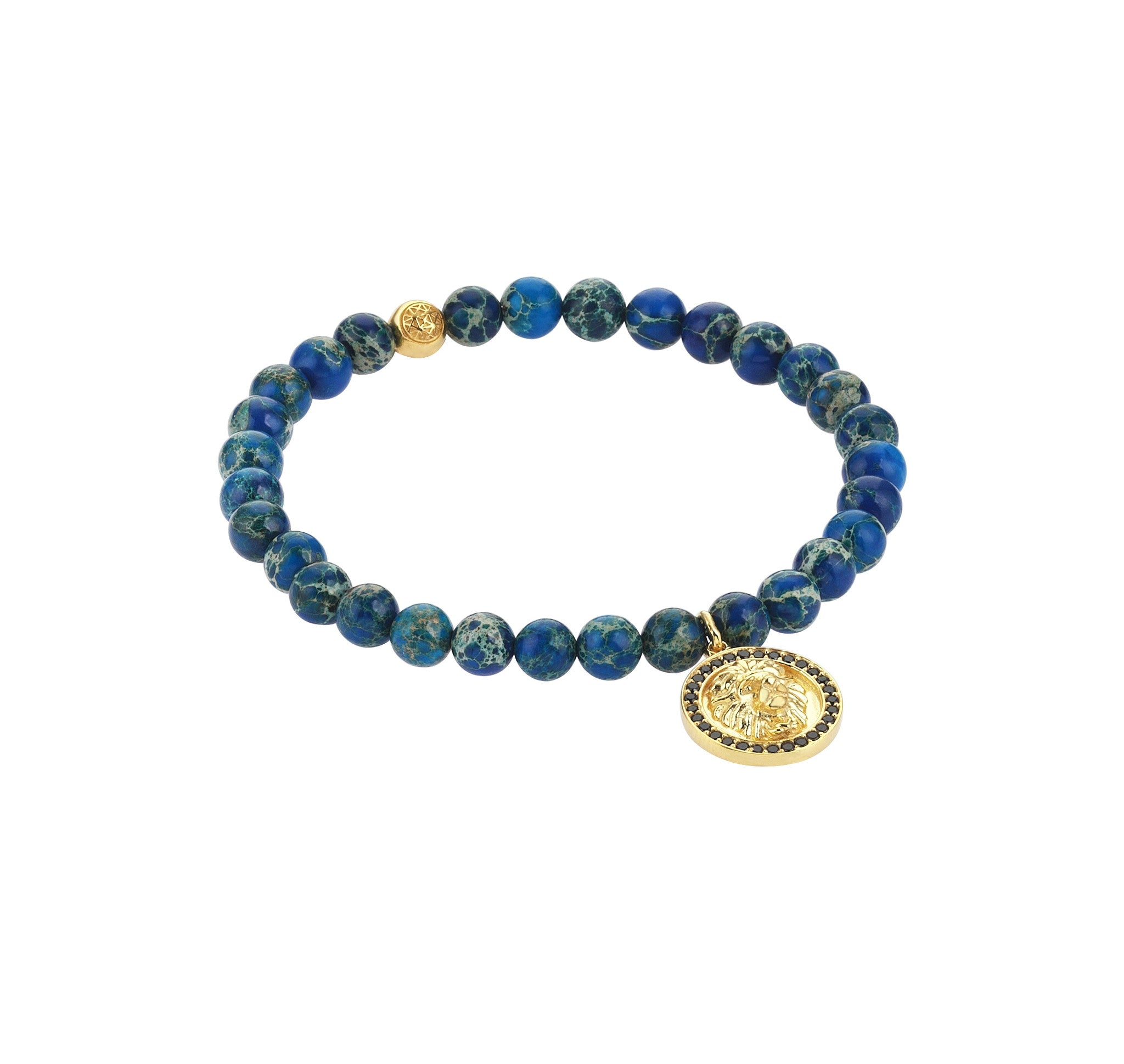 Mens Leo Charm Bracelet - Yellow Gold - Blue Jasper