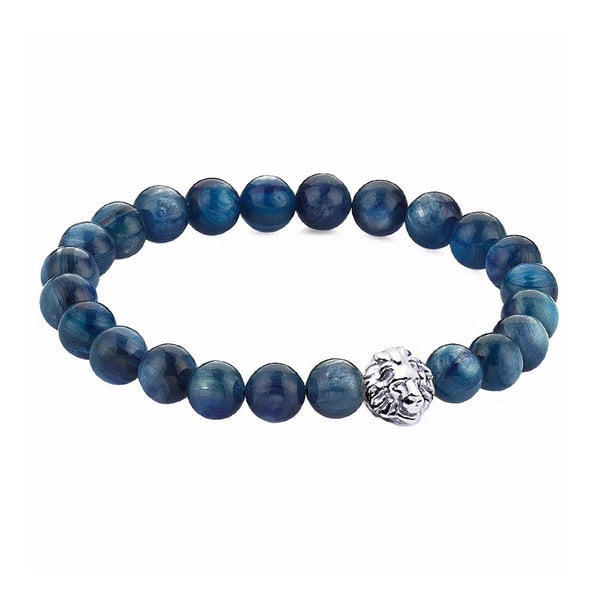 Exclusive Leo Beaded Bracelets - Oxidised Silver - Kyanite