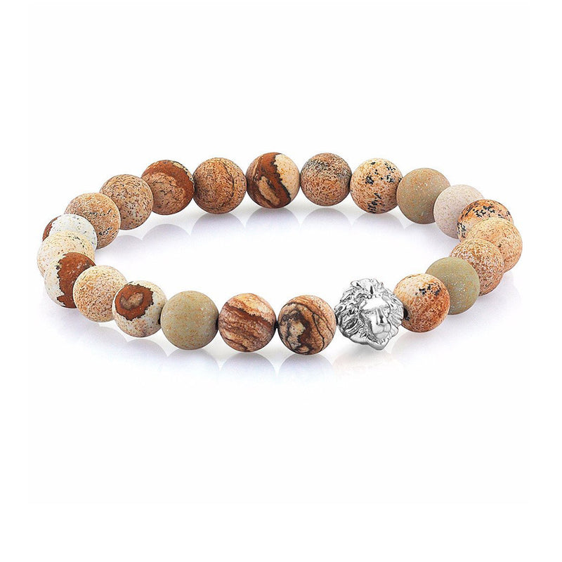 Leo Jasper Beaded Bracelet - Solid Gold