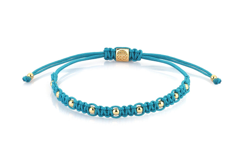 Women's 9 Balls Macrame - Yellow Gold - Turquoise