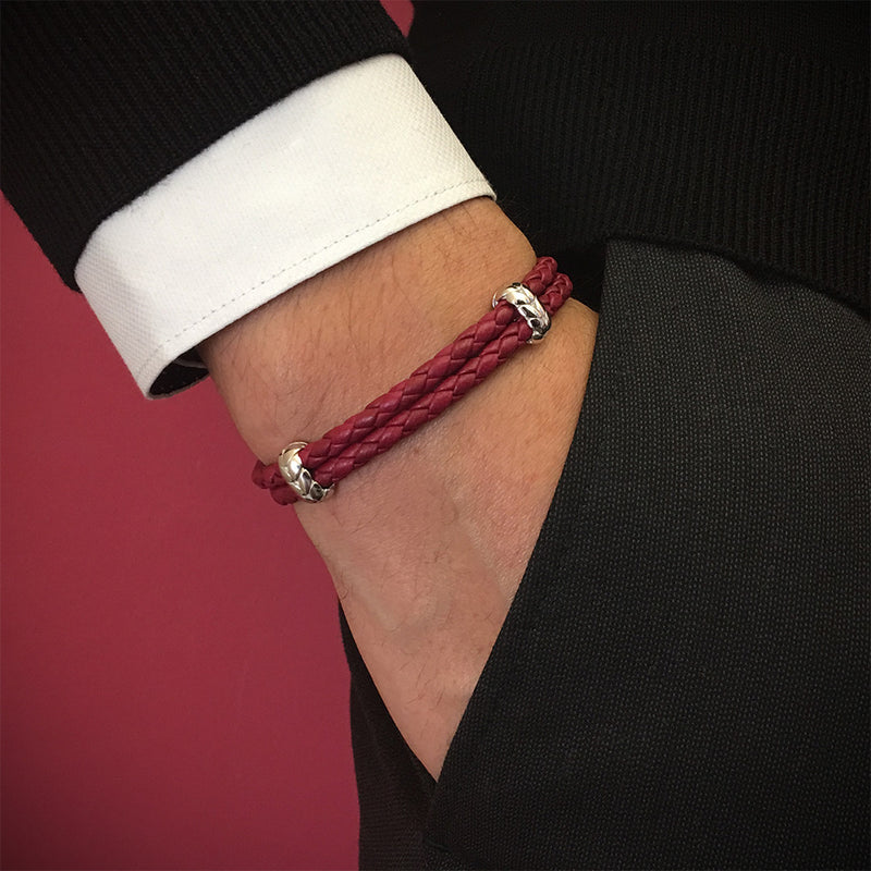 Atolyestone Elements - Solid Silver - Dark Red Leather