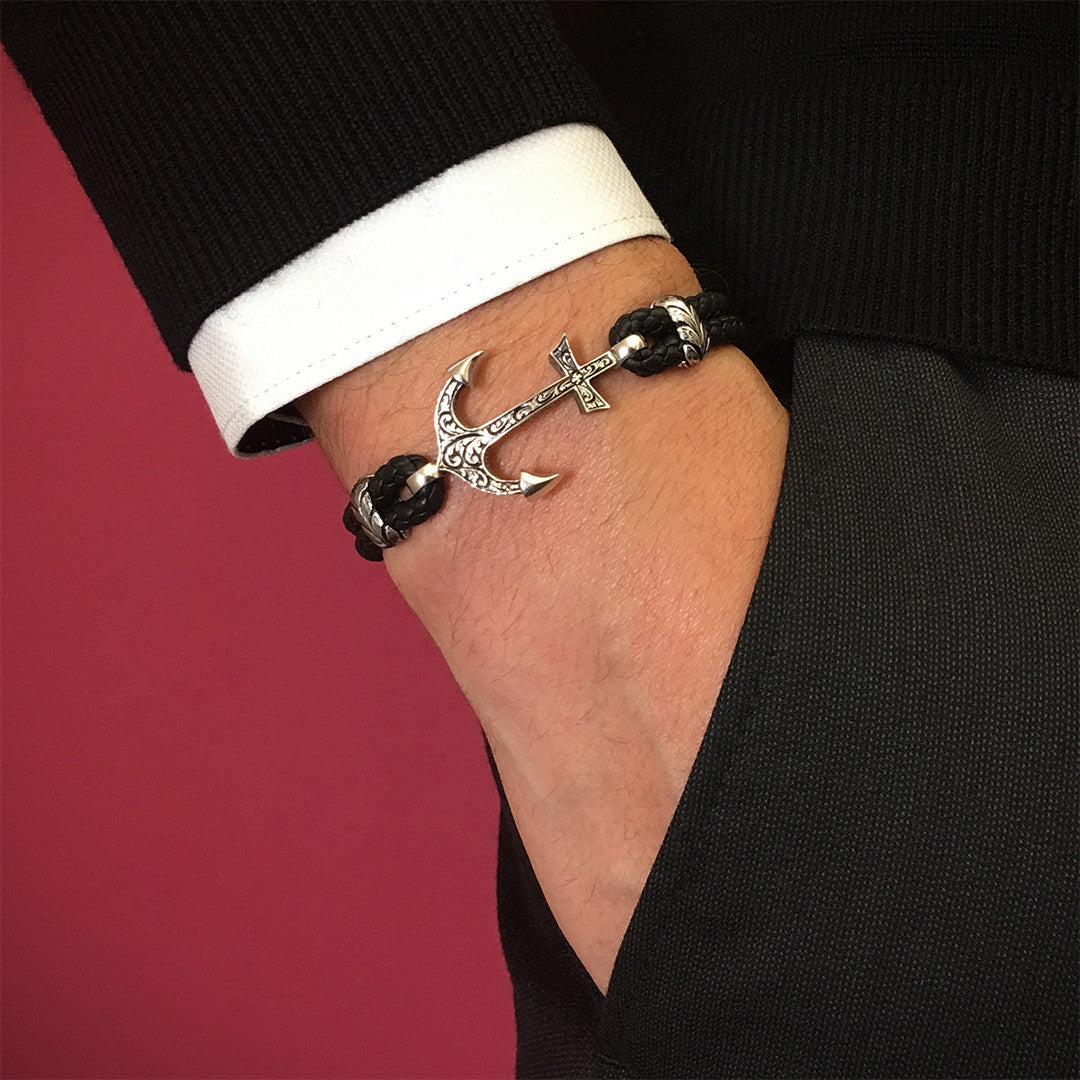 Classic Anchor Leather Bracelet - Solid White Gold