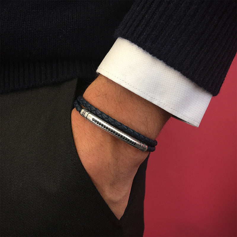 Mens Signature Leather Wrap Bracelet - Solid Silver - Navy Leather