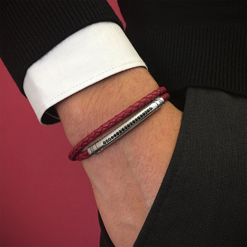 Mens Signature Leather Wrap Bracelet - Solid Silver - Dark Red Leather