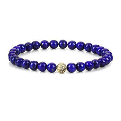 Mens Classic Beaded Bracelet - Yellow Gold - Lapis Lazuli