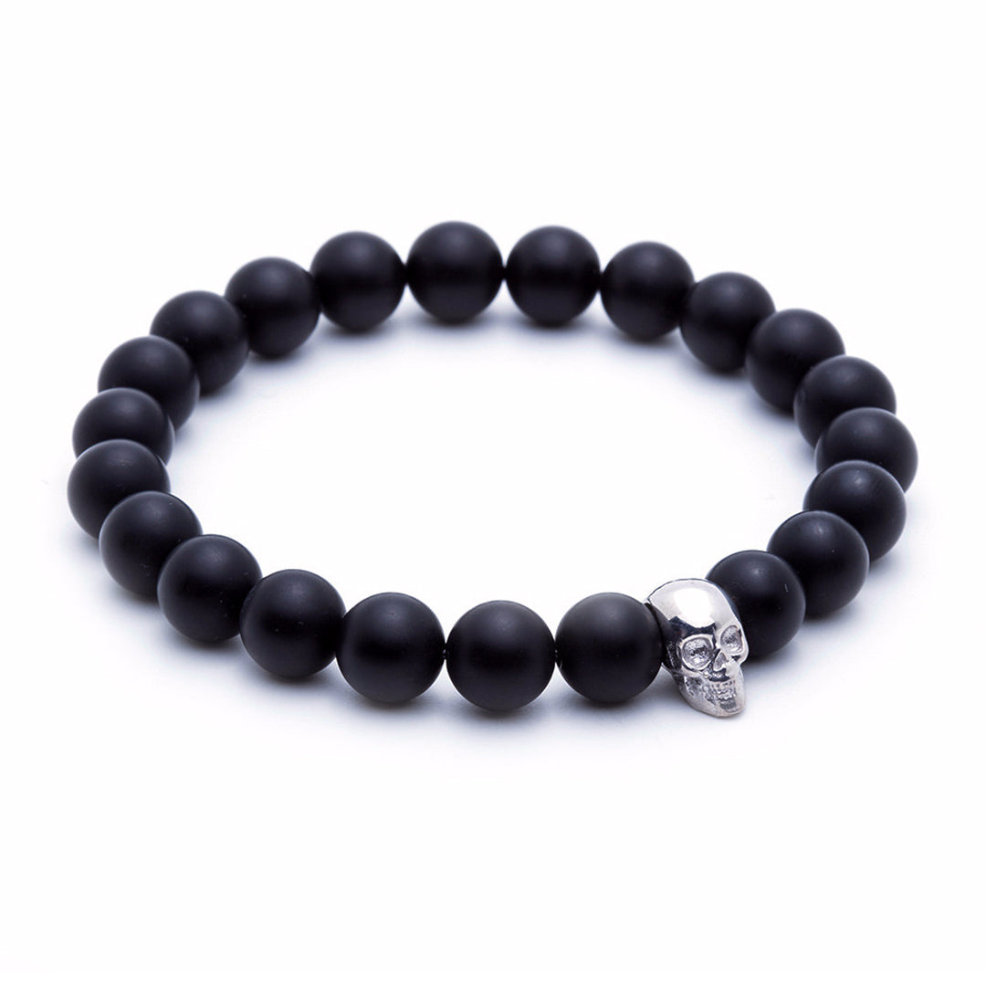 Skull Beaded Bracelet - White Gold - Agate