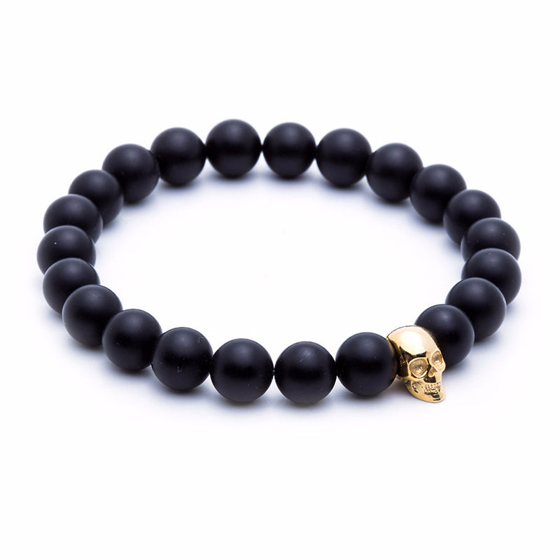 Skull Beaded Bracelet - Yellow Gold - Agate