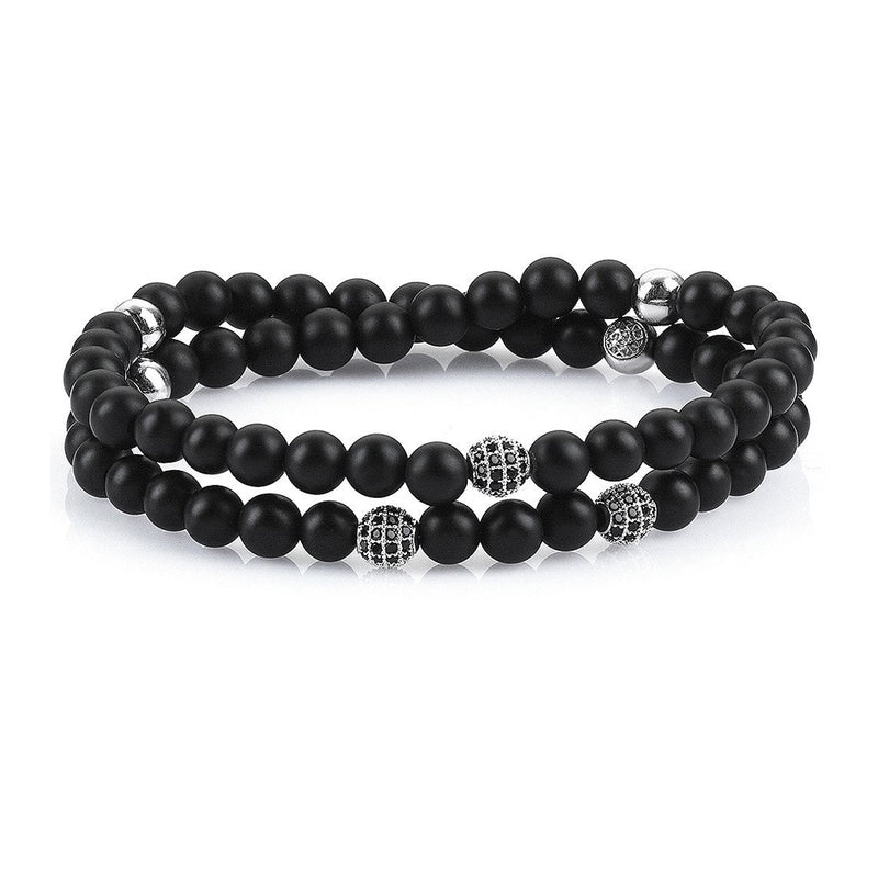 Mens Double Beaded Bracelets - Agate