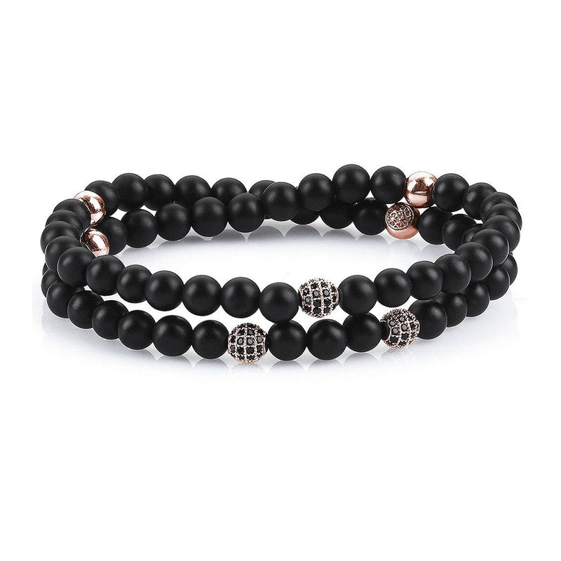 Mens Double Beaded Bracelets - Agate - Rose Gold