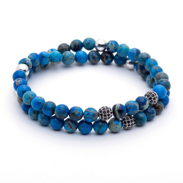 Mens Double Jasper Beaded Bracelets - Blue Jasper