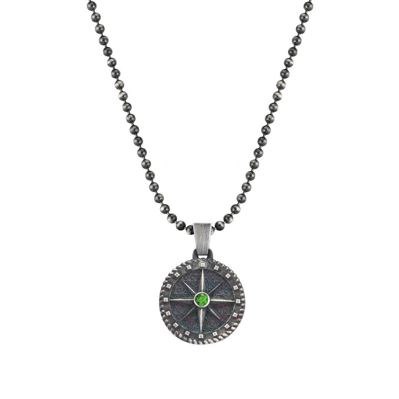 Mens Silver Compass Necklace with Emerald