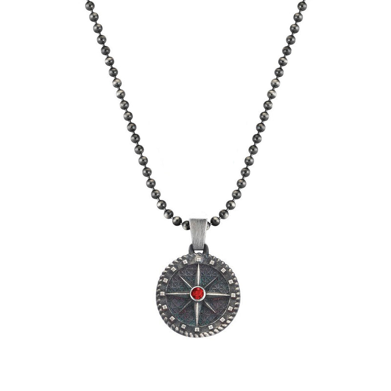 Compass Necklace - Solid Silver with Ruby