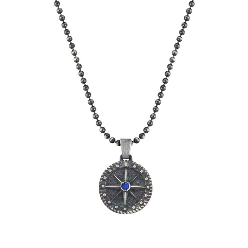 Compass Necklace - Solid Silver - Sapphire