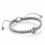 Solitaire Macrame Bracelet - Solid Silver