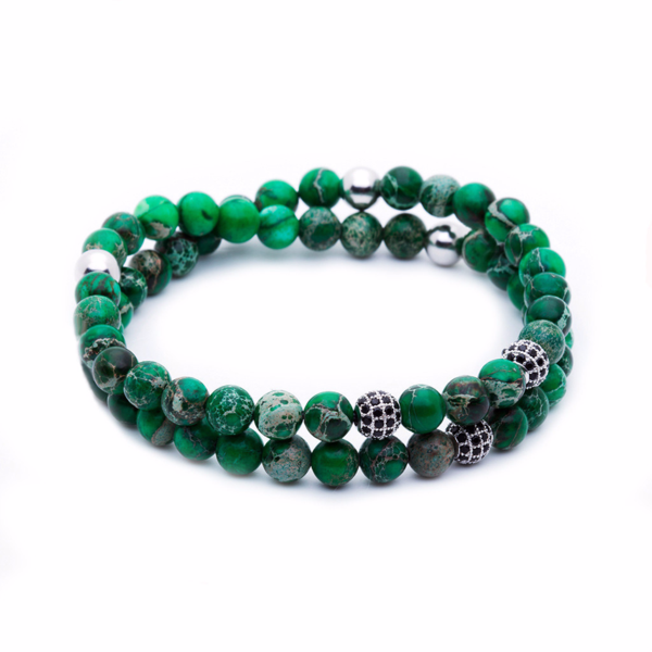 Women's Double Jasper Beaded Bracelets