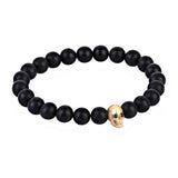 CZ Diamond Skull Beaded Bracelet - Sterling Silver