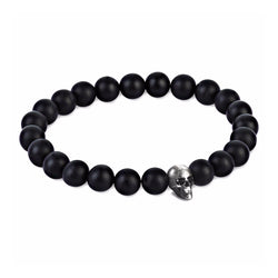 Mens CZ Diamond Skull Beaded Bracelet - Sterling Silver - Agate