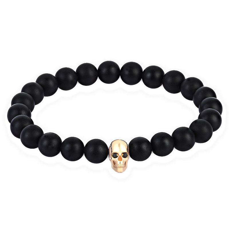 Mens CZ Diamond Skull Beaded Bracelet - Yellow Gold - Agate