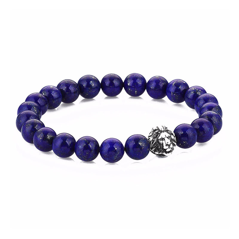 Exclusive Leo Beaded Bracelets - Oxidised Silver - Lapis Lazuli