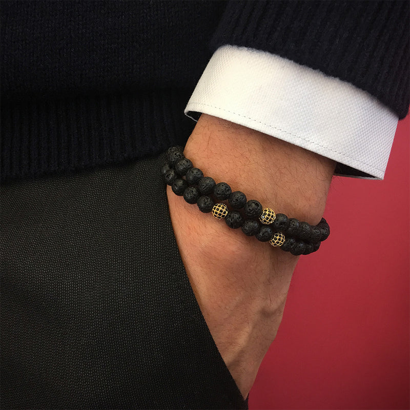 Mens Double Beaded Bracelets - Lavastone