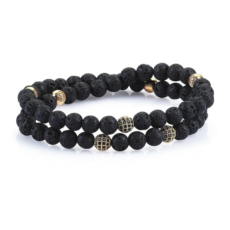 Mens Double Beaded Bracelets - Lavastone - Yellow Gold