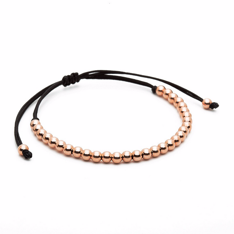Mens 30 Balls Macrame Bracelet Silver - Plating Color Rose Gold