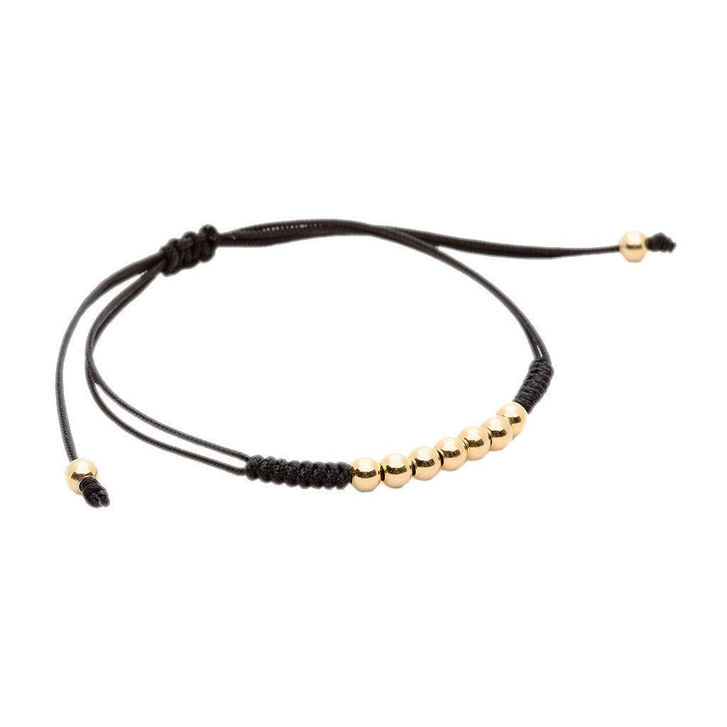 AtolyeStone Men 7 Balls Macrame Bracelet Plating Color Yellow Gold String Color Black