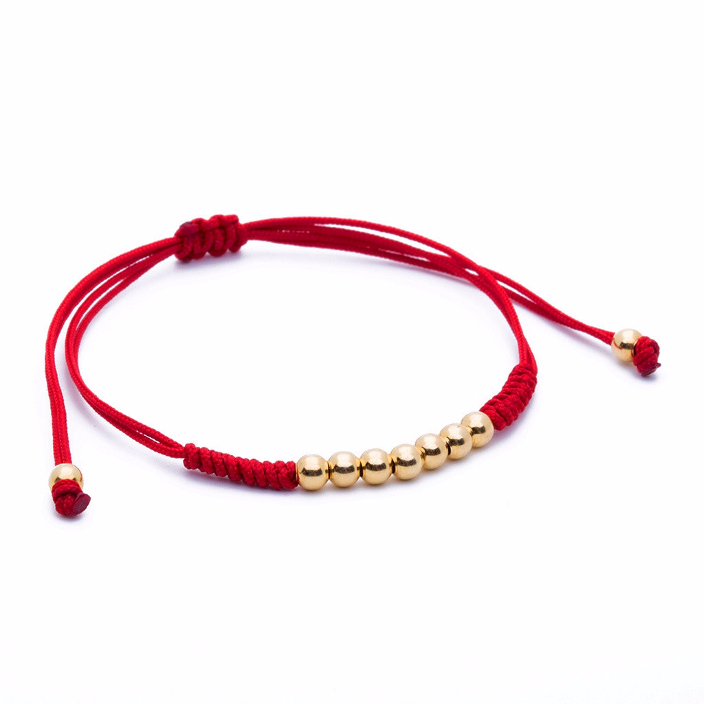 AtolyeStone Men 7 Balls Macrame Bracelet Plating Color Yellow Gold String Color Red