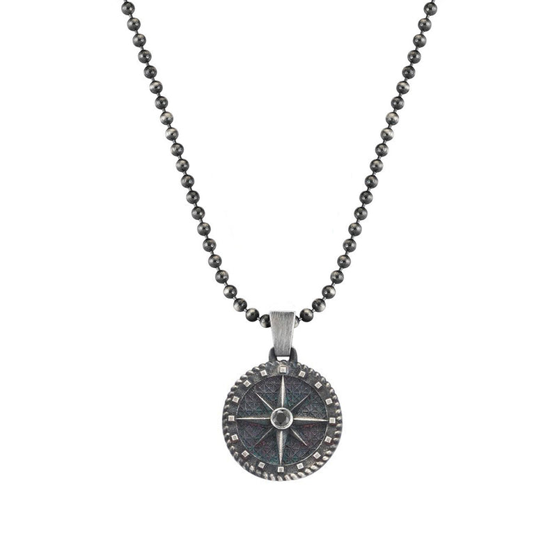 Mens Compass Necklace with Black Daimond