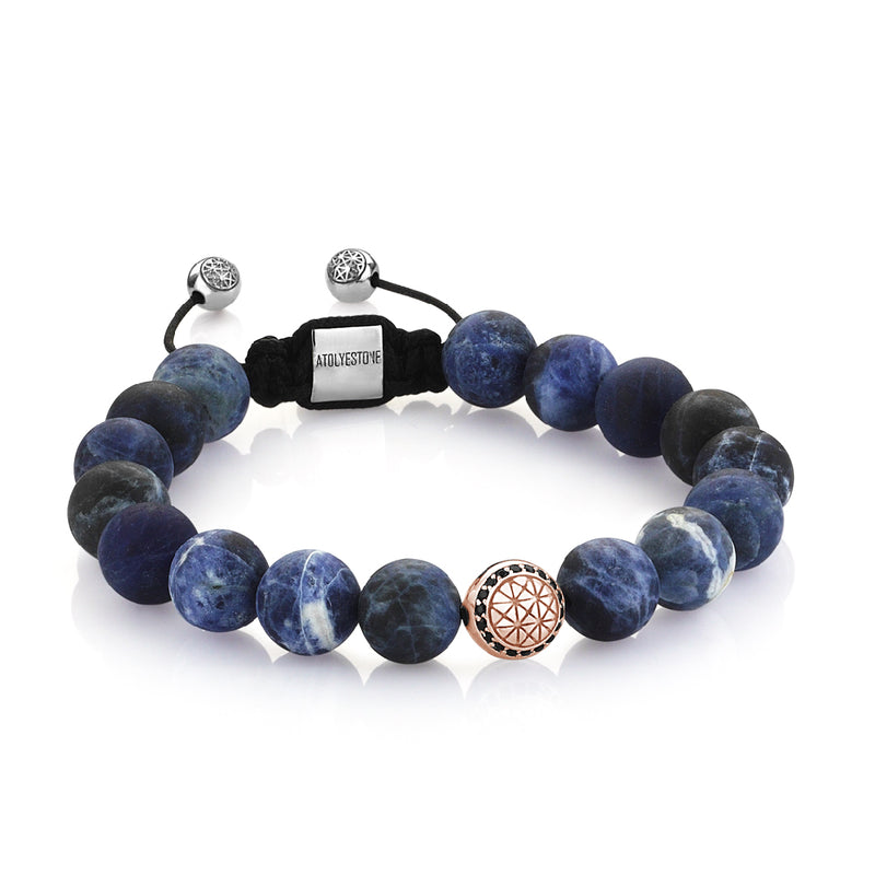 Exlusive Atolyestone Beaded Bracelet With Solid Gold - Sodalite - Rose Gold