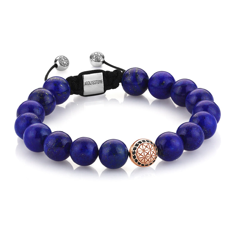 Exlusive Atolyestone Beaded Bracelet With Solid Gold - Lapis Lazuli - Rose Gold