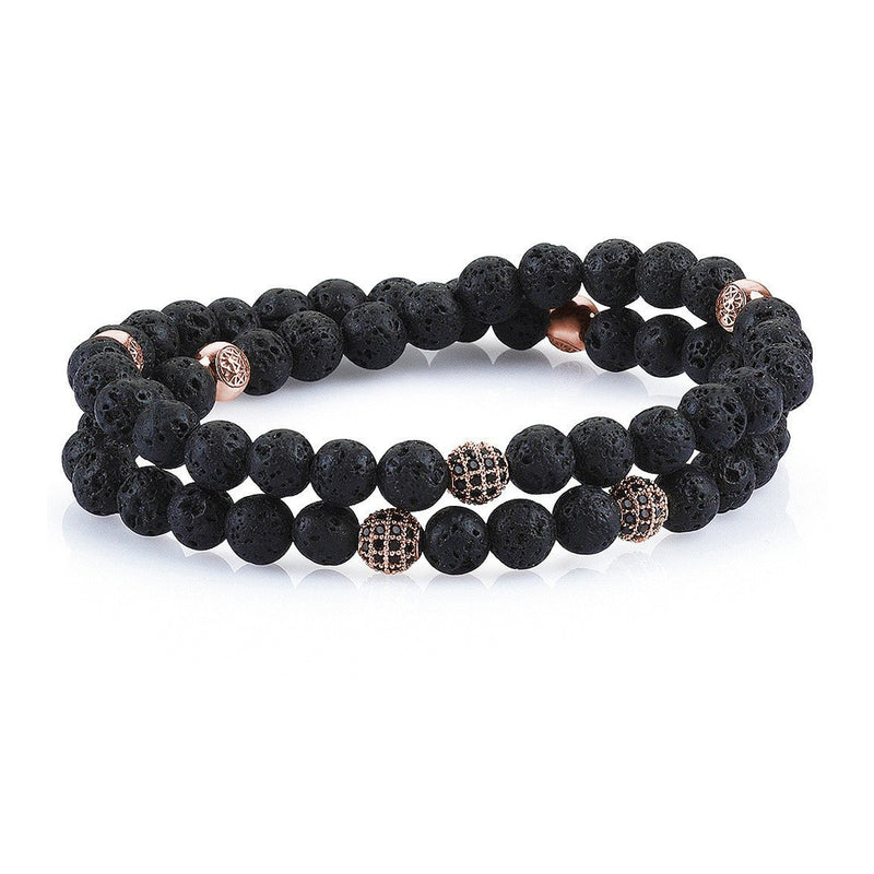 Mens Wrap Beaded Bracelets - Lavastone