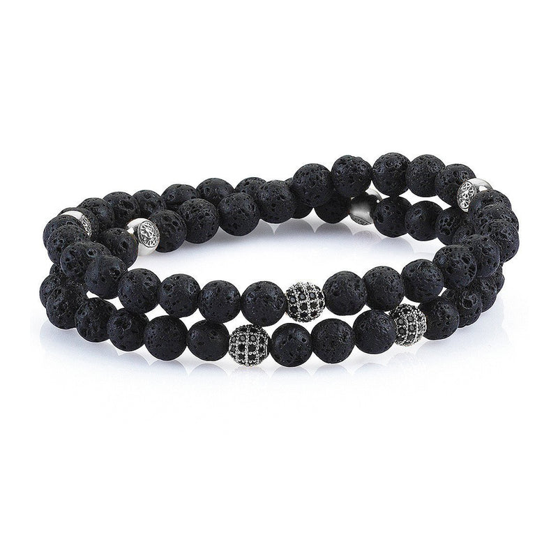 Mens Double Beaded Bracelets - Lavastone - Silver